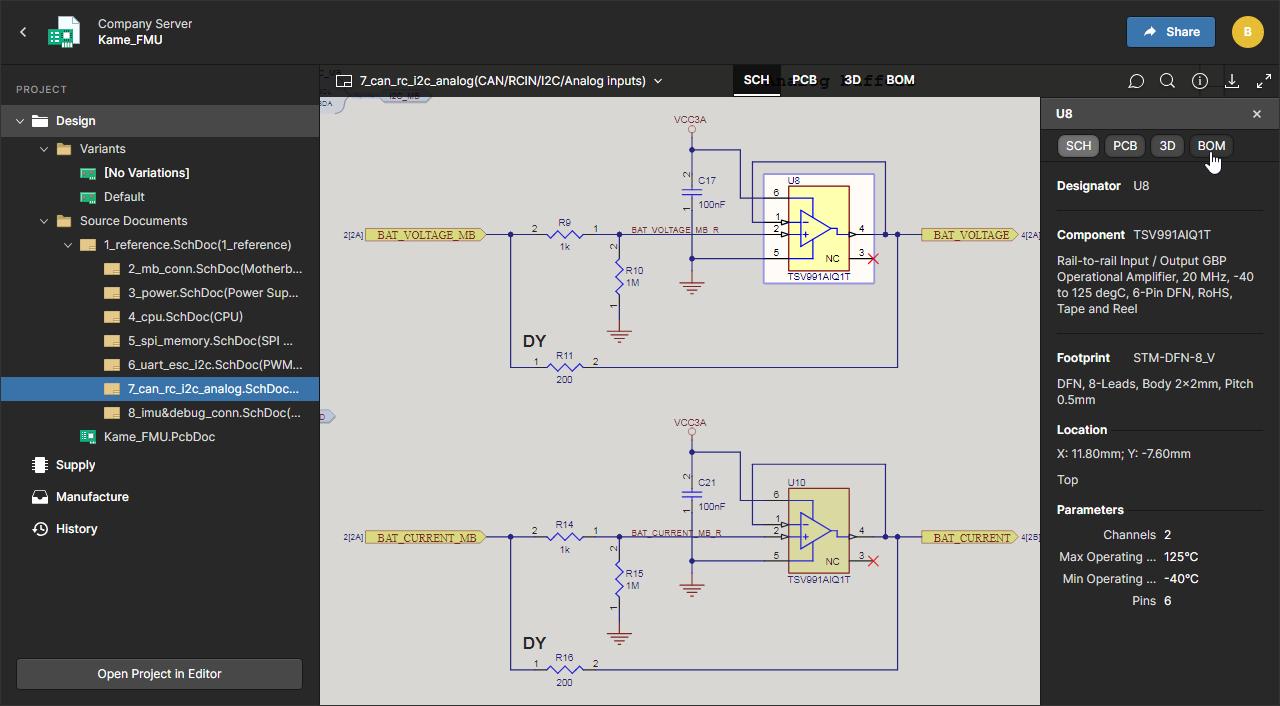 Altium Concord Pro 4.0 Просмотр электрической схемы, топологии печатной платы, 2D-просмотр, 3D-просмотр, состав изделия (BOM) и документы, относящиеся к этому проекту