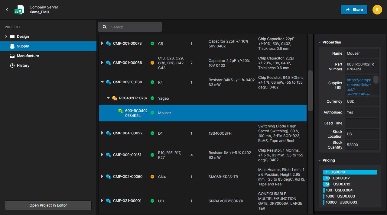 Altium Concord Pro 4.0  Отдельный раздел Цепочка Поставки (Supply)
