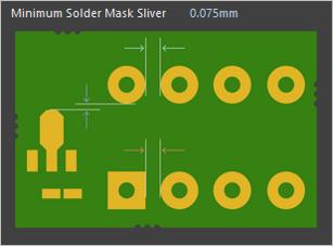 Рис. 6. Правило контроля зазоров на слое паяльной маски в Altium Designer