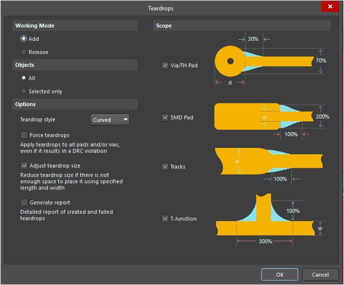 Инструмент для создания teardrops в САПР Altium Designer