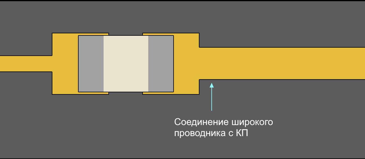 Altium Designer Подключение широкого проводника к силовой контактной площадке