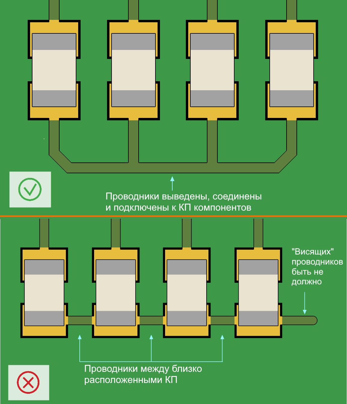 Altium Designer Рис. 9. «Хороший» и «плохой» примеры соединения контактных площадок одной цепи
