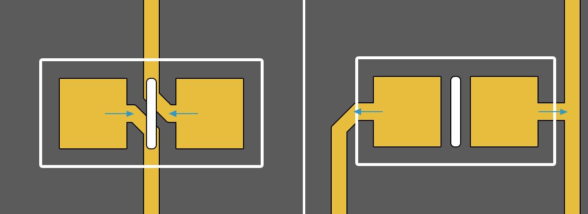 Altium Designer Способ подключения чип-компонентов к контактной площадке: а) рекомендуемый