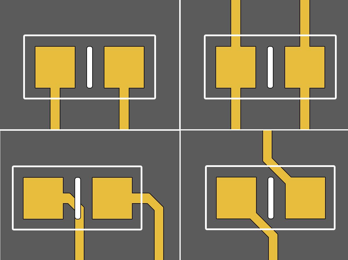 Altium Designer способ подключения чип-компонентов к контактной площадке: б) допустимый