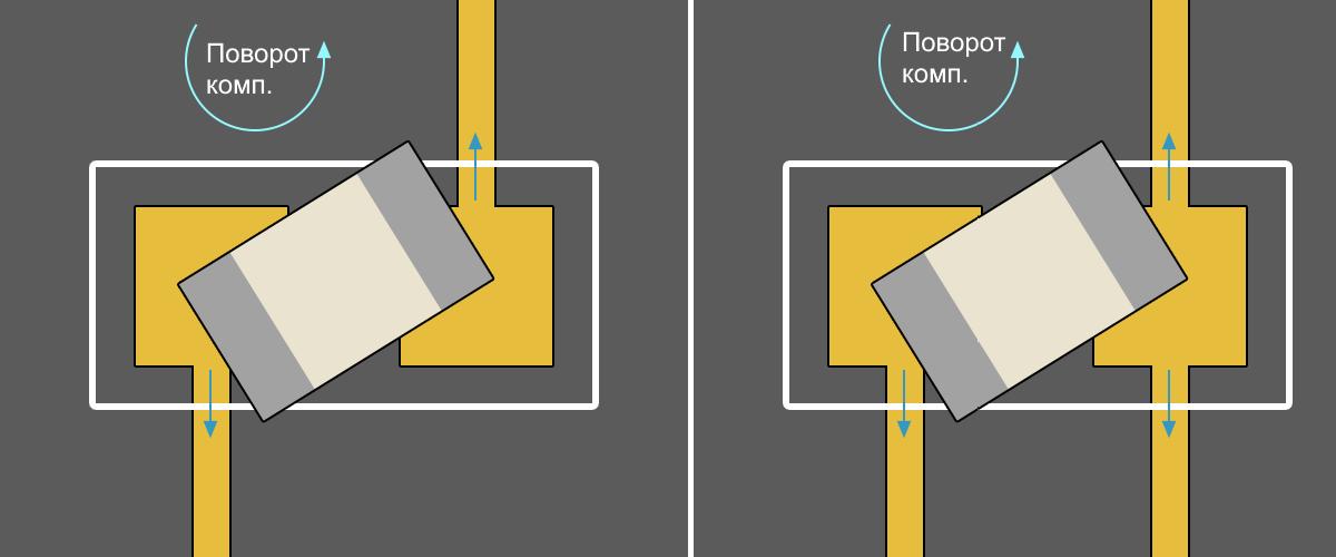 Altium Designer Способ подключения чип-компонентов к контактной площадке: в) недопустимый