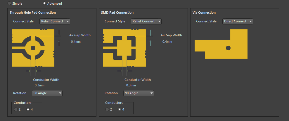 Altium Designer правило Polygon Connect
