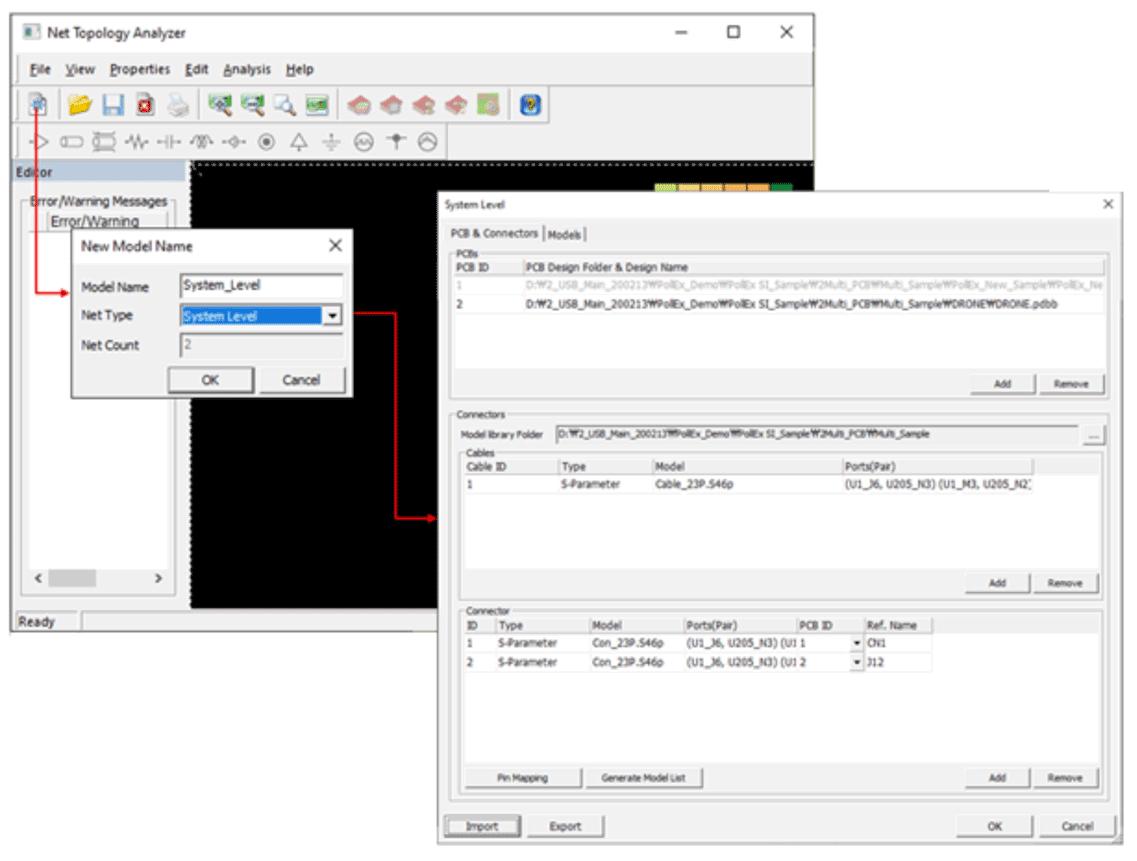Altair Pollex Диалоговое окно с настройками для проведения анализа на системном уровне