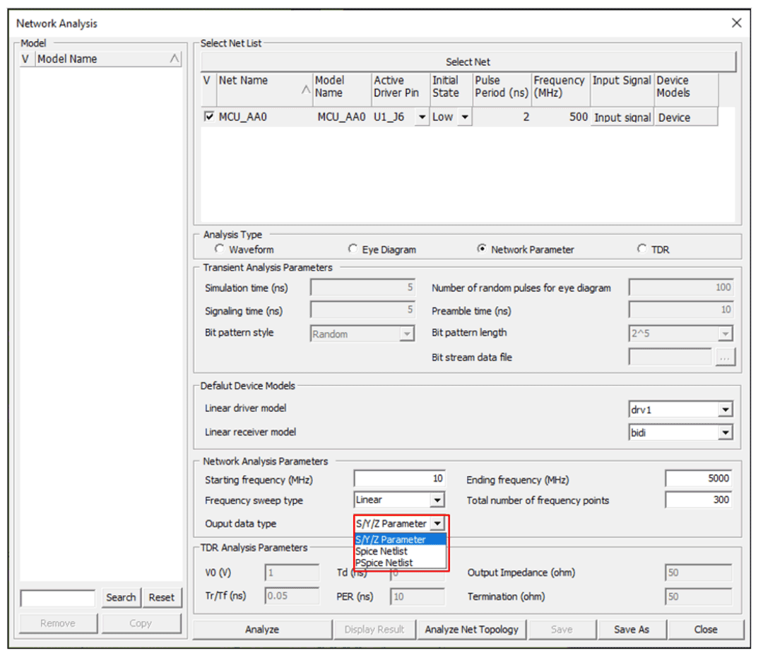 Altair Pollex результаты анализа S/Y/Z параметры, список соединений SPICE, список соединений PSPICE