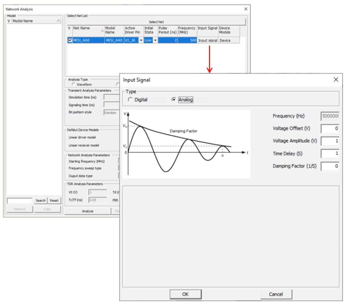 Altair Pollex Задайте форму аналогового входного сигнала, например синусоидальная форма, при проведении анализа цепей