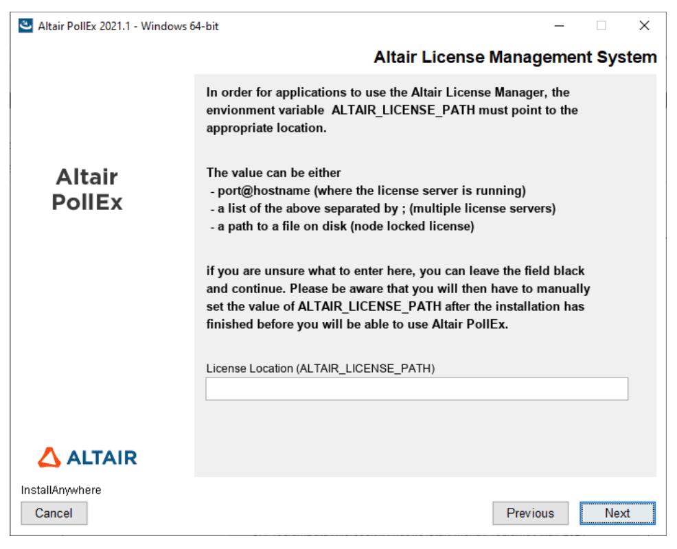 Altair Pollex Система управления лицензиями Altair при установке дистрибутива Altair PollEx 2021.1