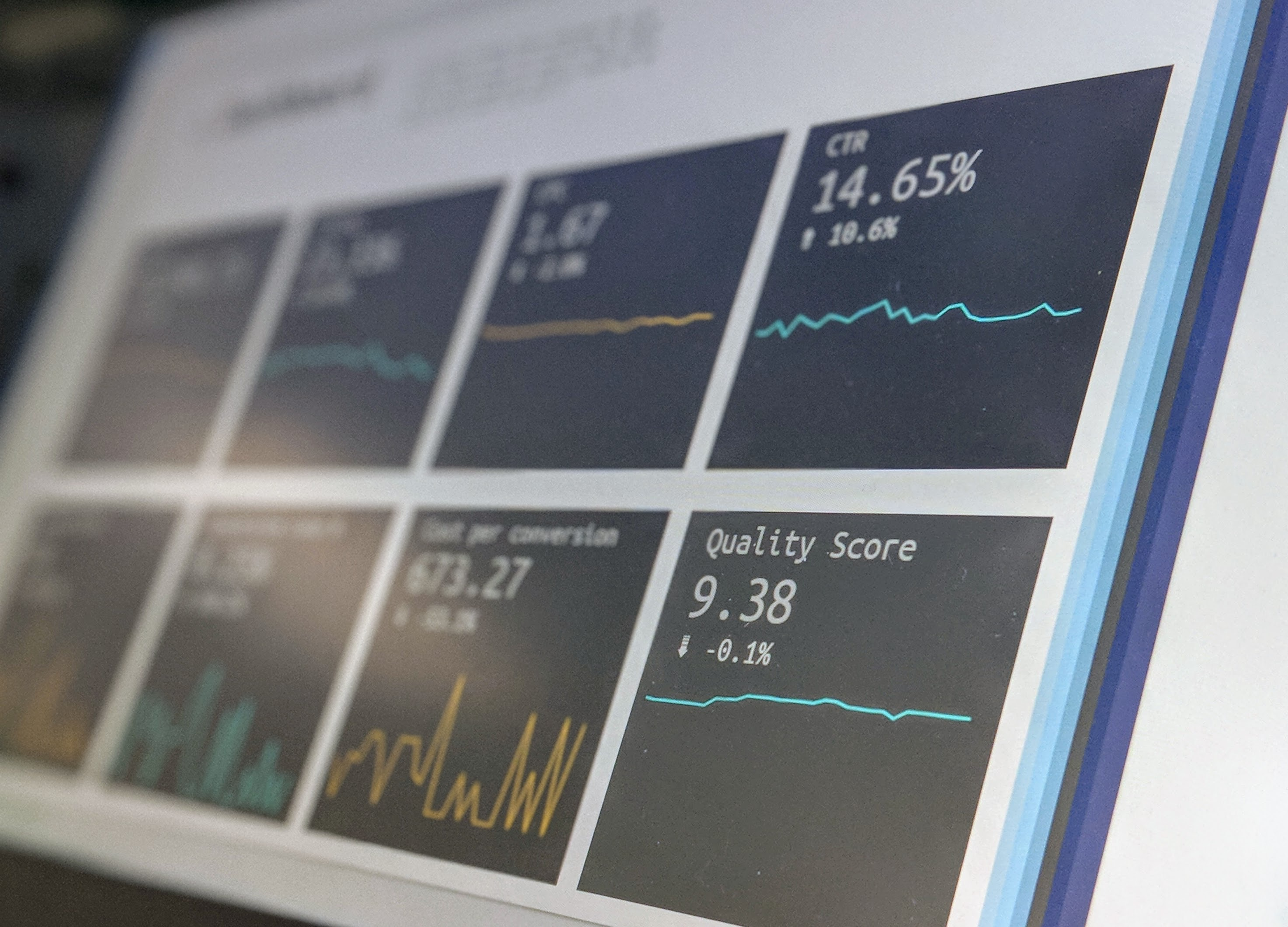 Closeup take of a laptop displaying a dashboard with different metrics. Photo by Stephen Dawson on Unsplash. From Ed Orozco Design Strategy & UX Consulting.