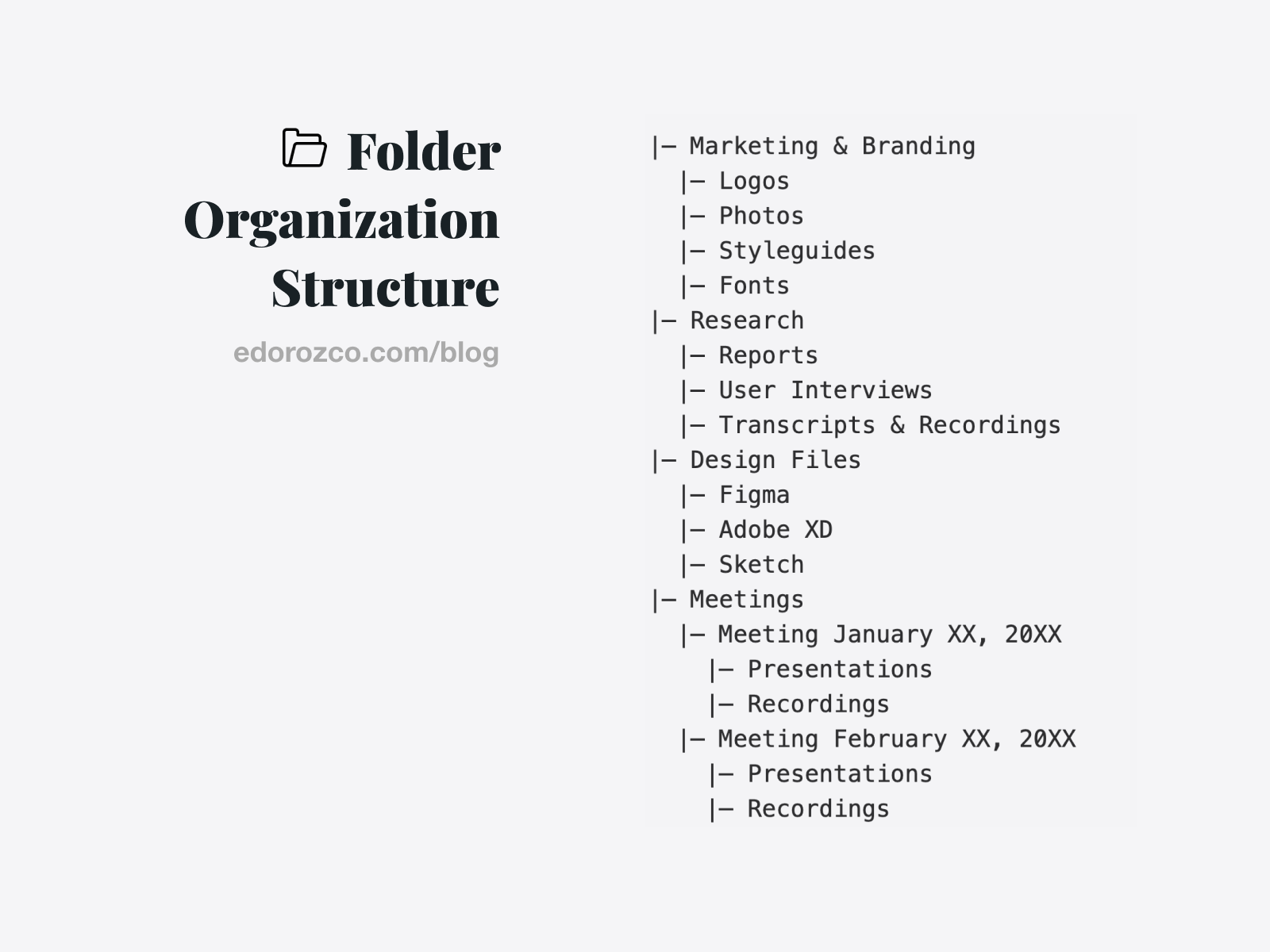 Example of how to organize project assets. – Ed Orozco
