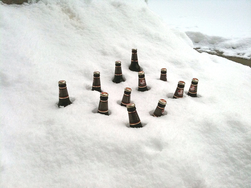 Beers on snow