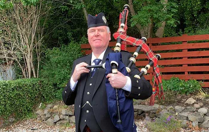 ex-Scots Guards Pipe Major Iain Lowther, winner of the 150th Anniversary composing competition