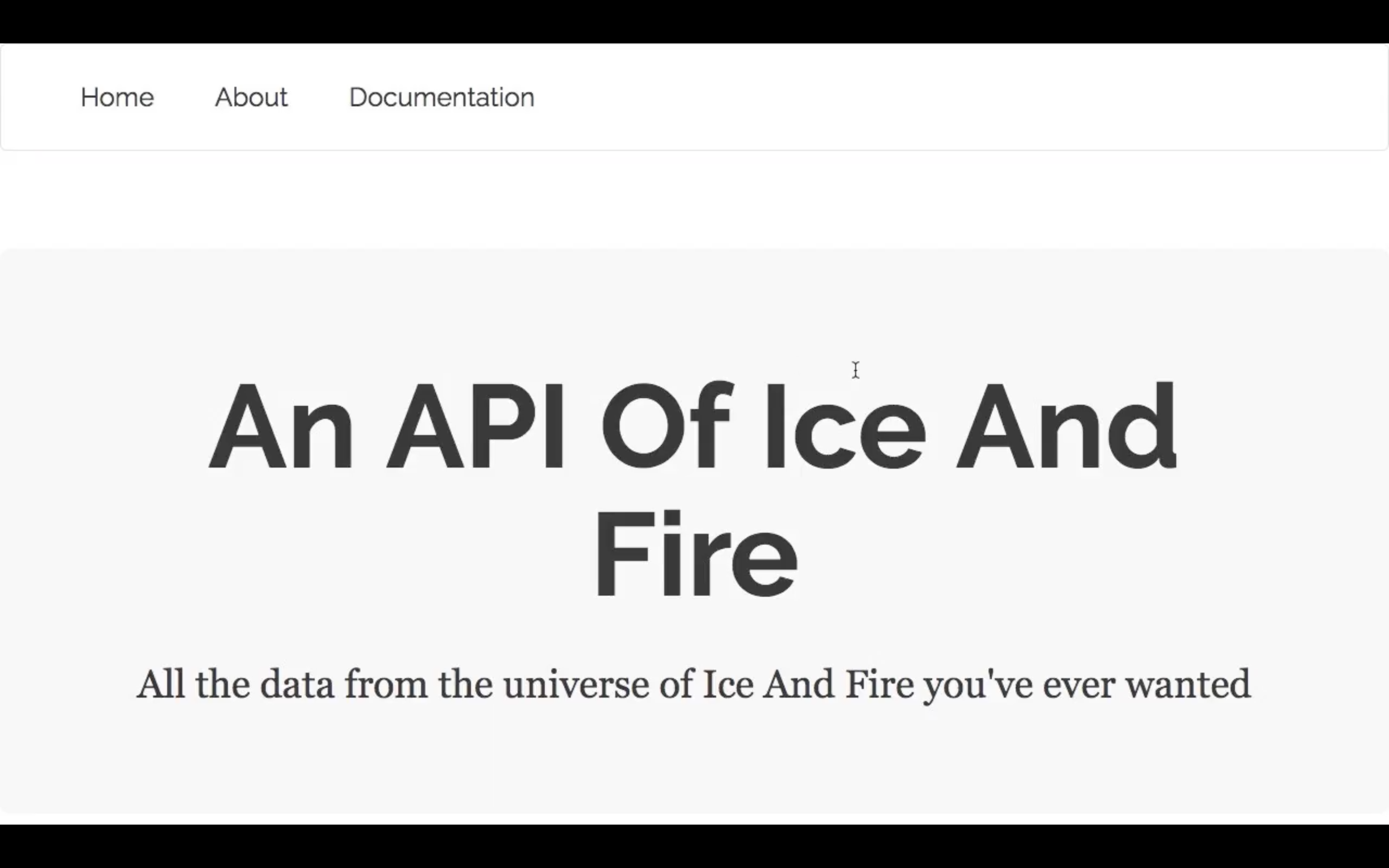 An API of Ice and Fire homepage