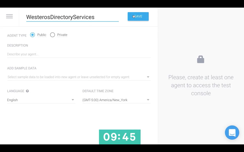 API.ai interface - agent creation