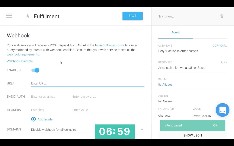 API.ai interface - webhook fulfillment