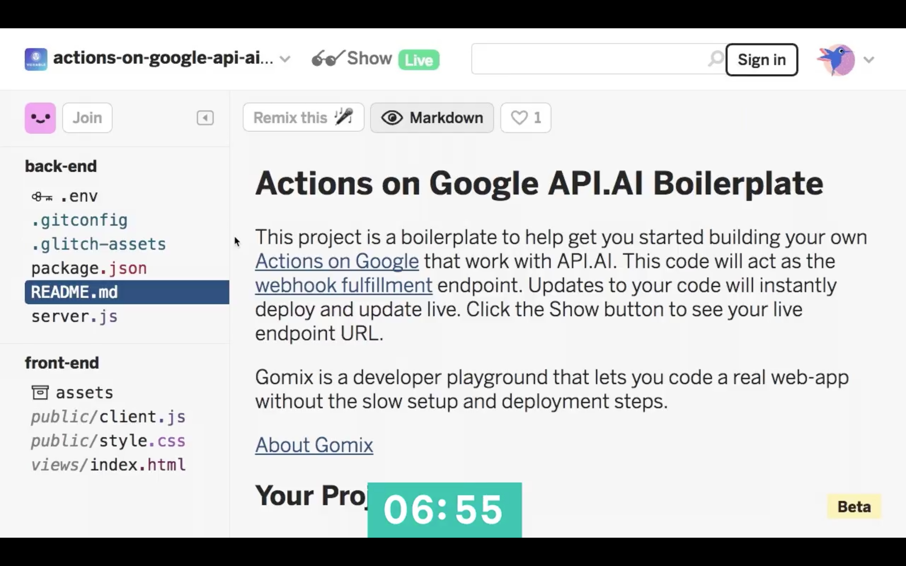Actions on Google Boilerplate project on Glitch