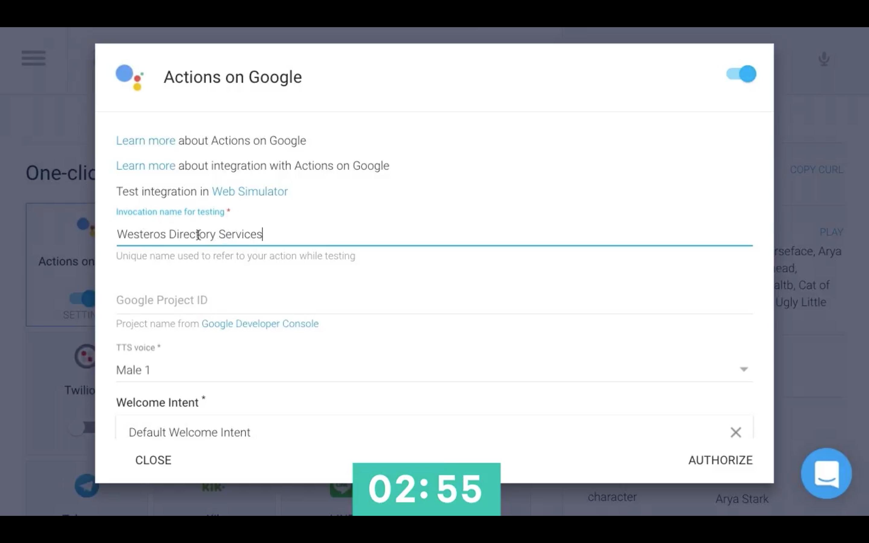 API.ai interface - Actions on Google integration