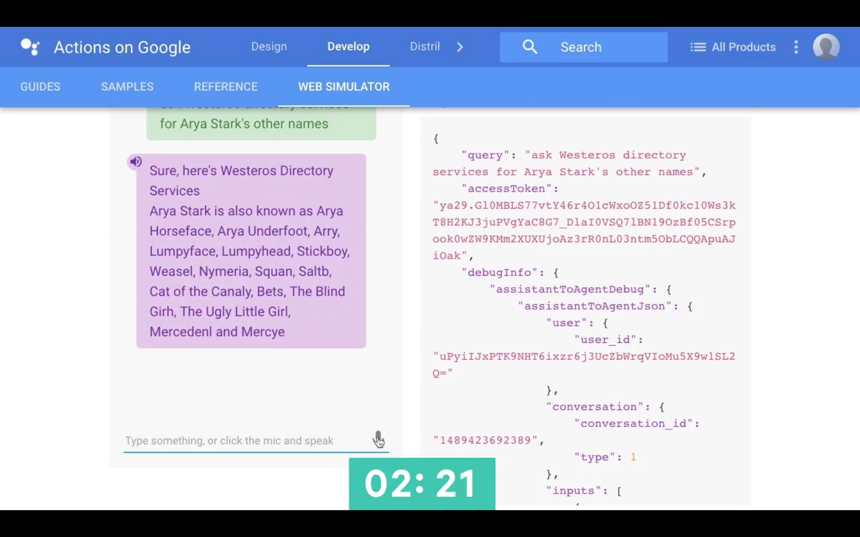 Actions on Google Web Simulator