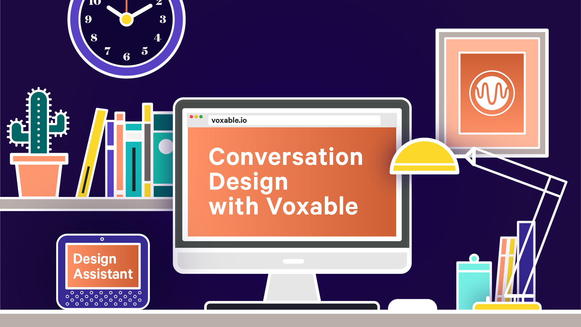 """An illustration of a desk with a computer and smart speaker. The computer displays the text """"Conversation Design with Voxable"""" and the smartspeaker displays the text """"Chat Preview.""""."""""""