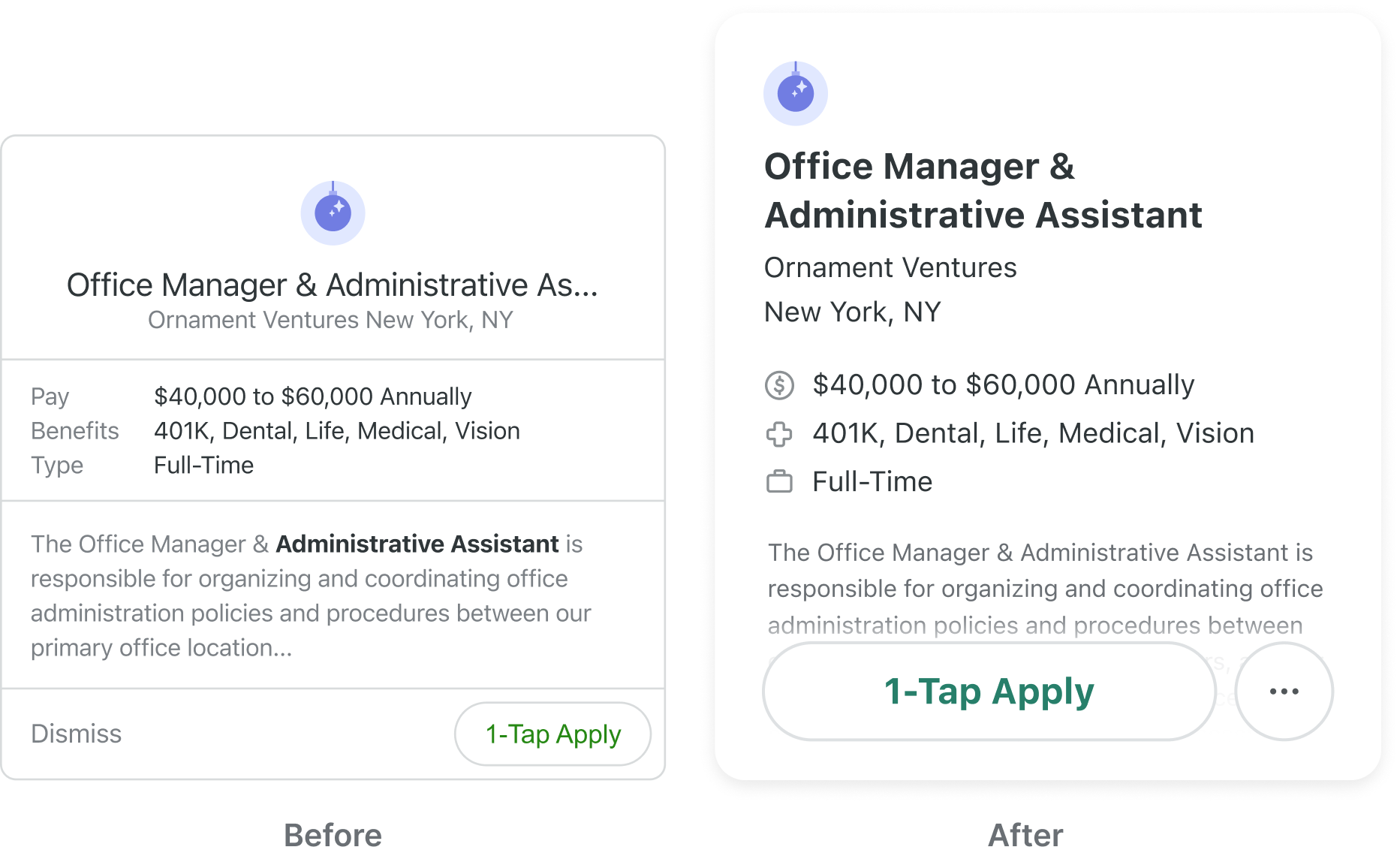 A before and after image of the old and new job card, showing the improvement in readability.