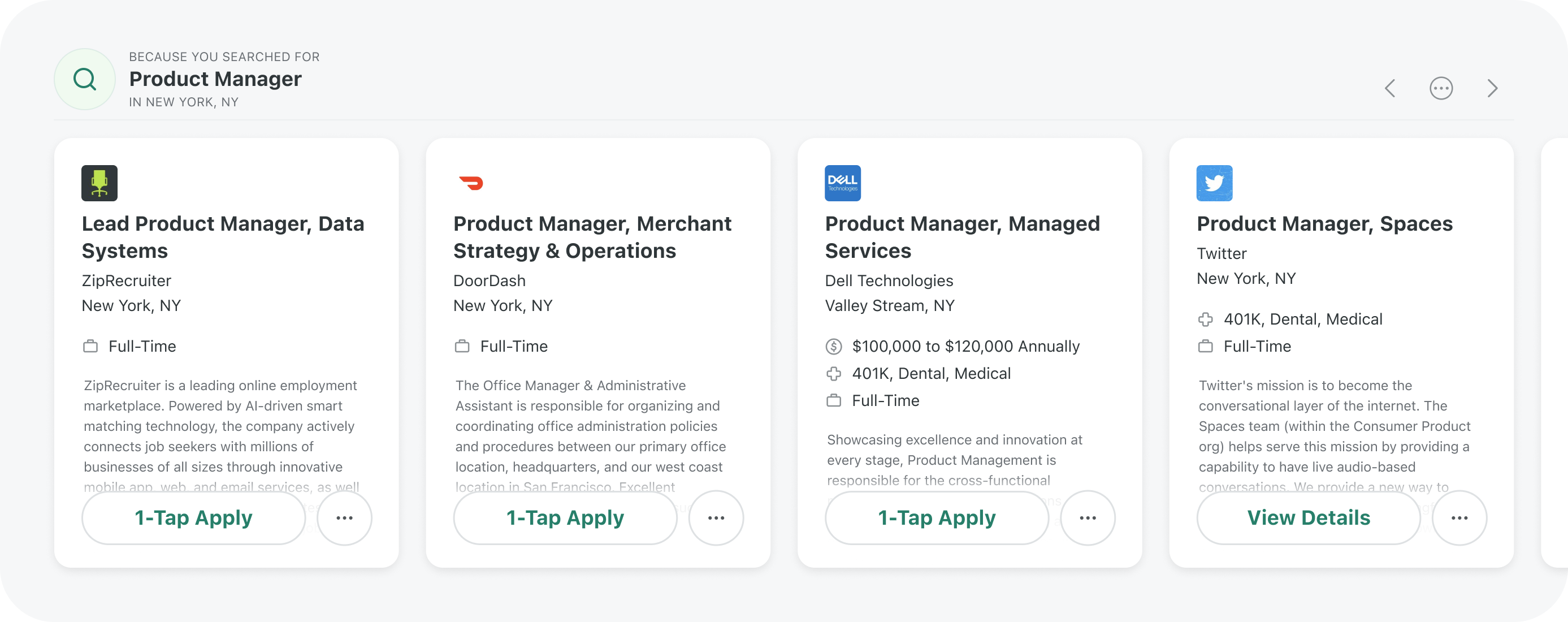 Suggested Jobs second carousel