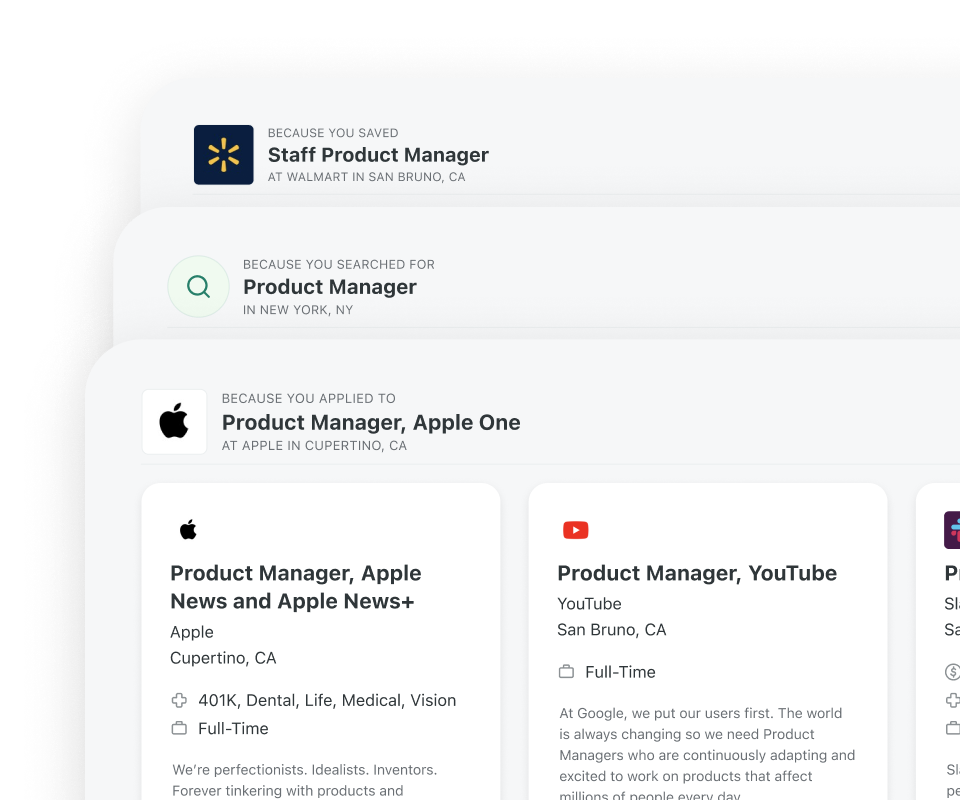 Preview image of the redesigned suggested jobs carousels..