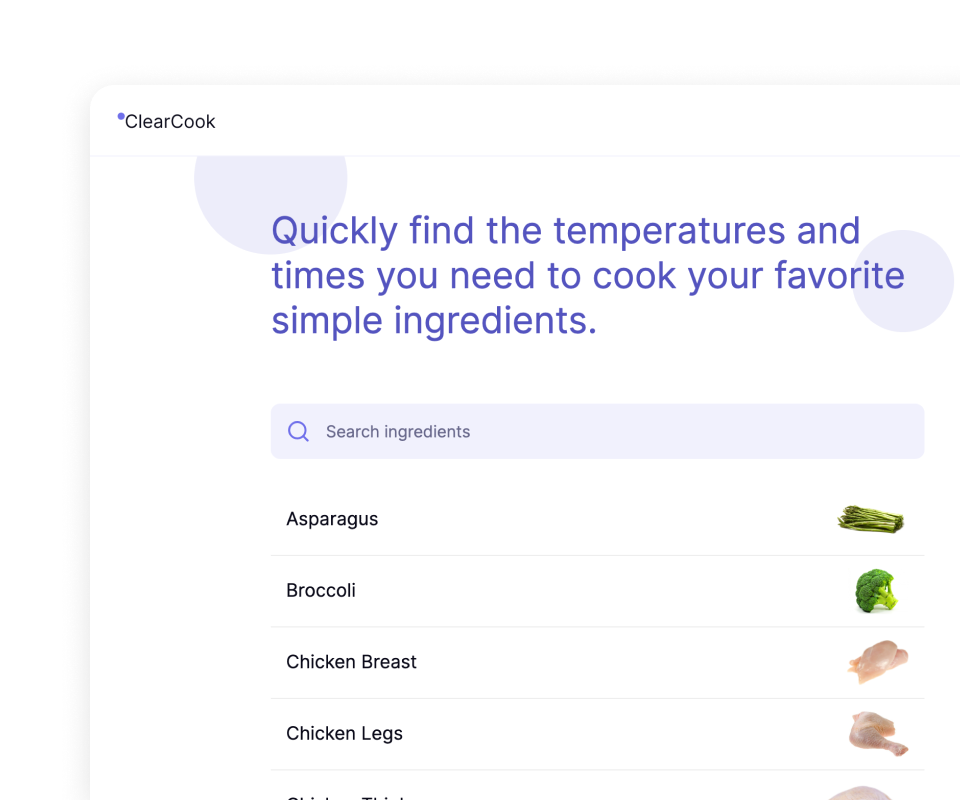 Preview image of the ClearCook homepage.