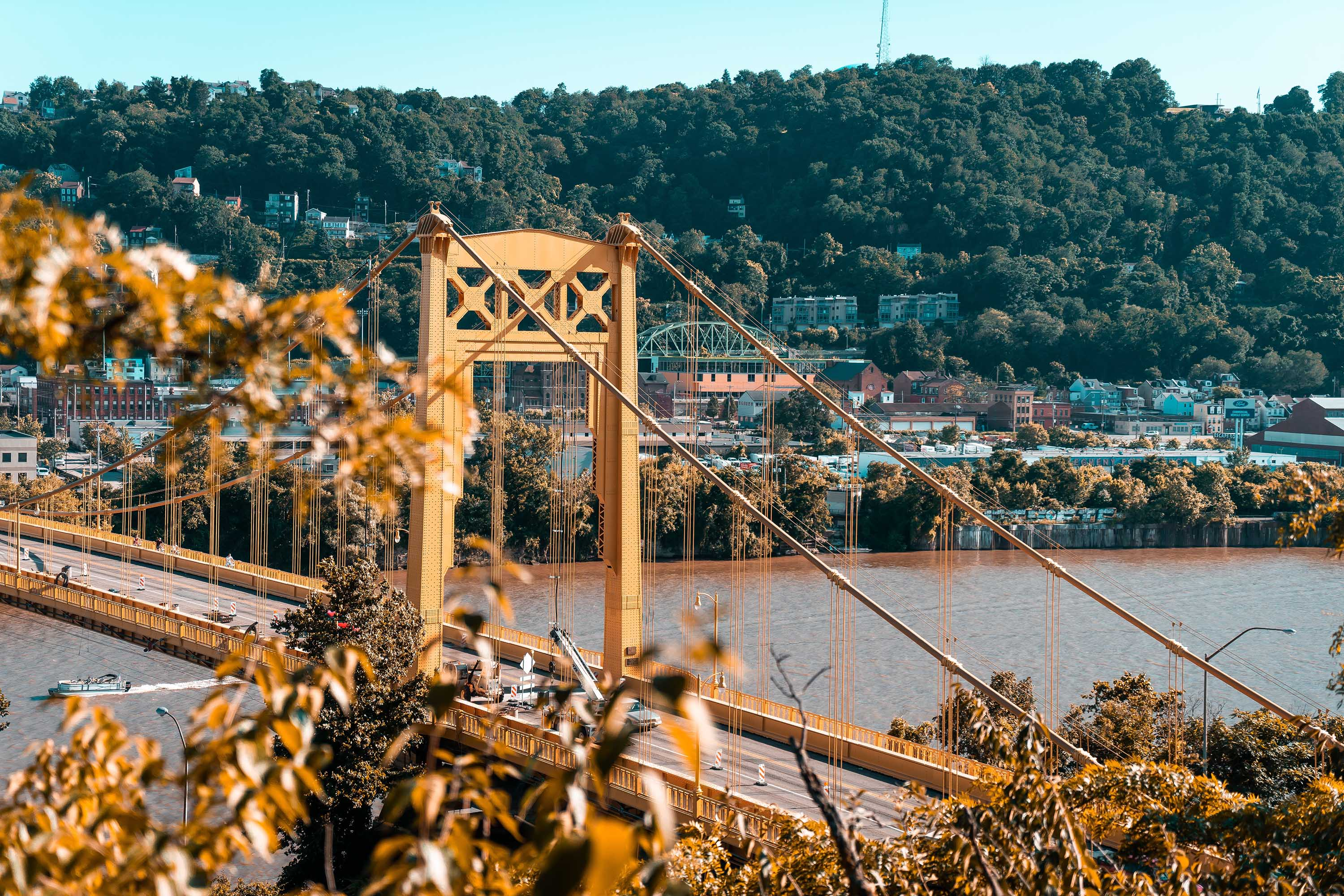 Photo of a yellow bridge in Pittsburgh