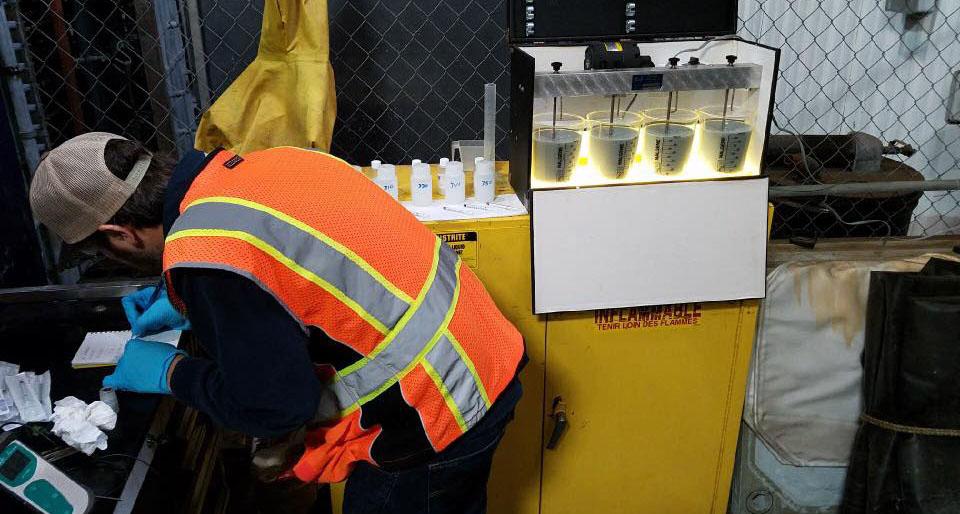 President, Matt Morosetti onsite testing Lime Slurry reactivity