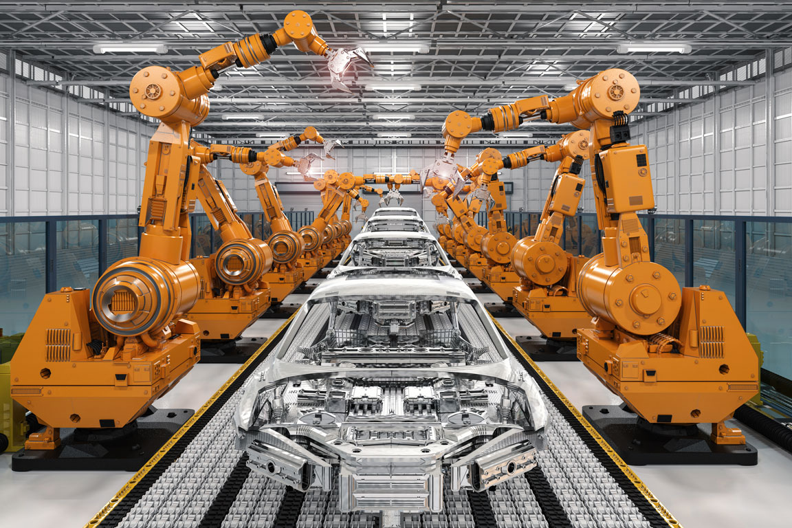 Robots manufacturing robots at an automotive factory