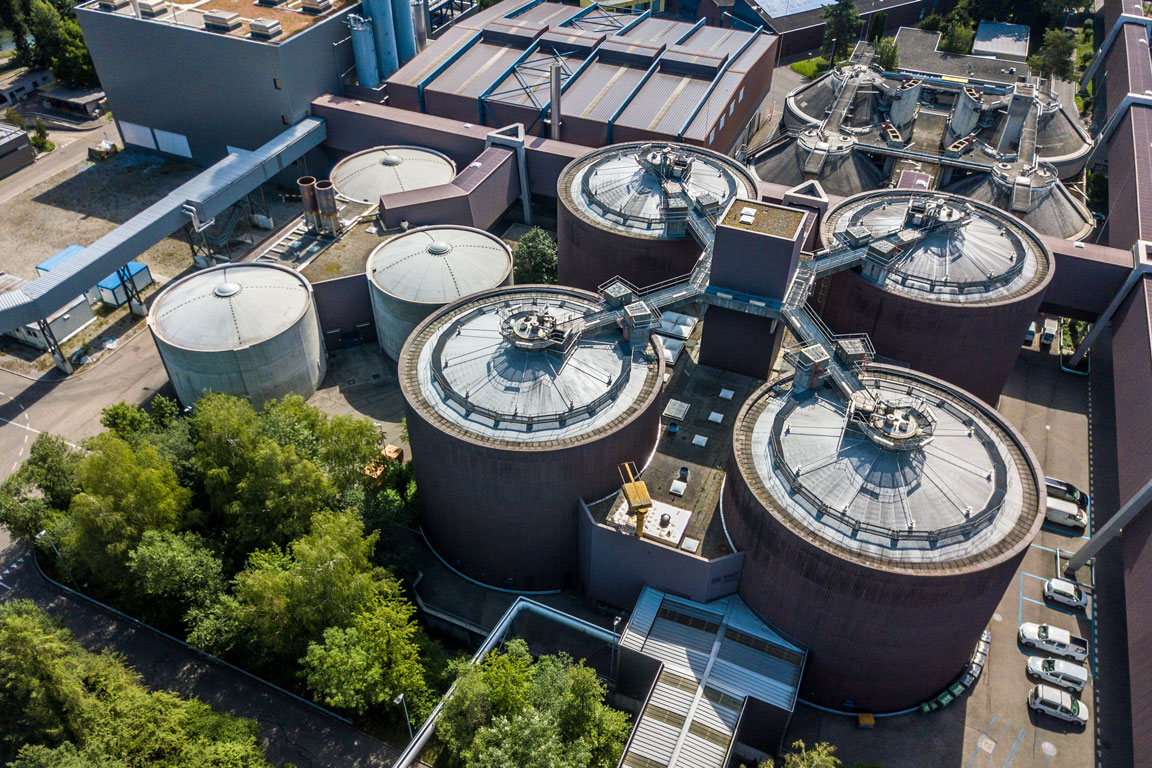 Arial view of a local municipal treatment facility