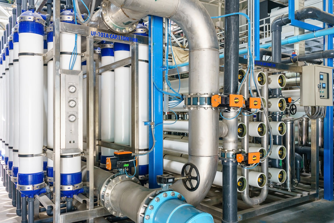 A series of pipes at a chemical treatment plant