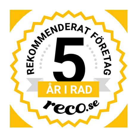 Tryggsam är rekommenderat företag 5 år i rad av reco.se