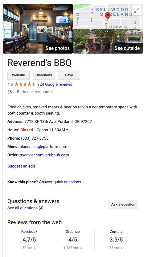 Reverend's BBQ Google listing