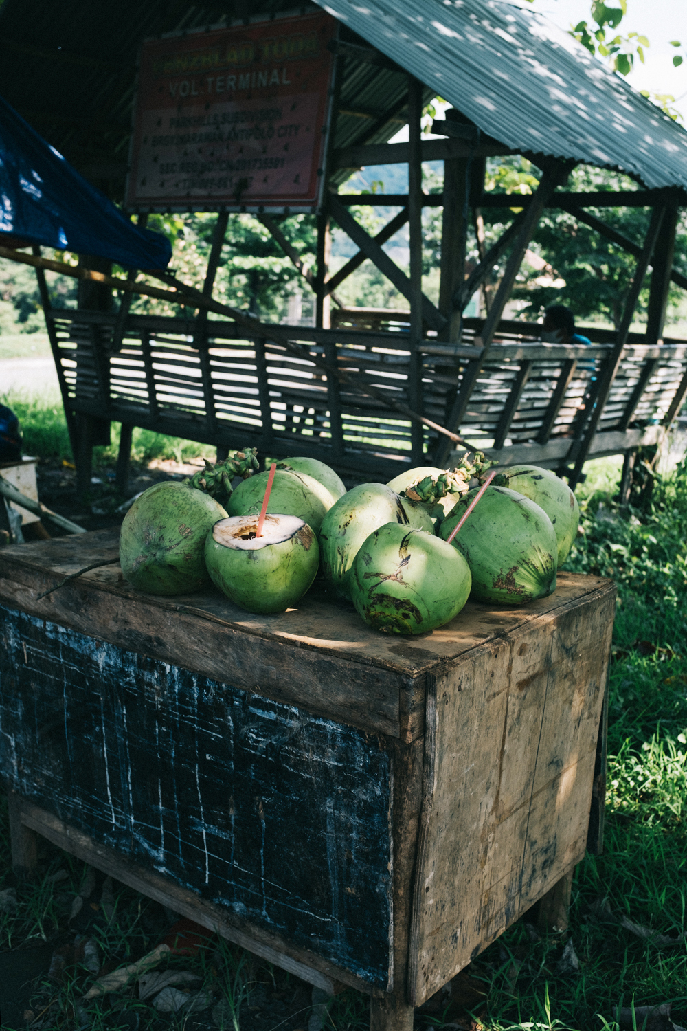Fresh coconuts are cut open and served to customers