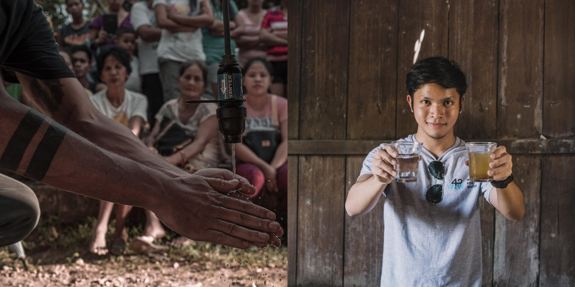 LEFT: Hand washing from the faucet of filtered water; RIGHT: Carlo Delantar holding a glass of muddy water on the right and its potable filtered counterpart on the left.