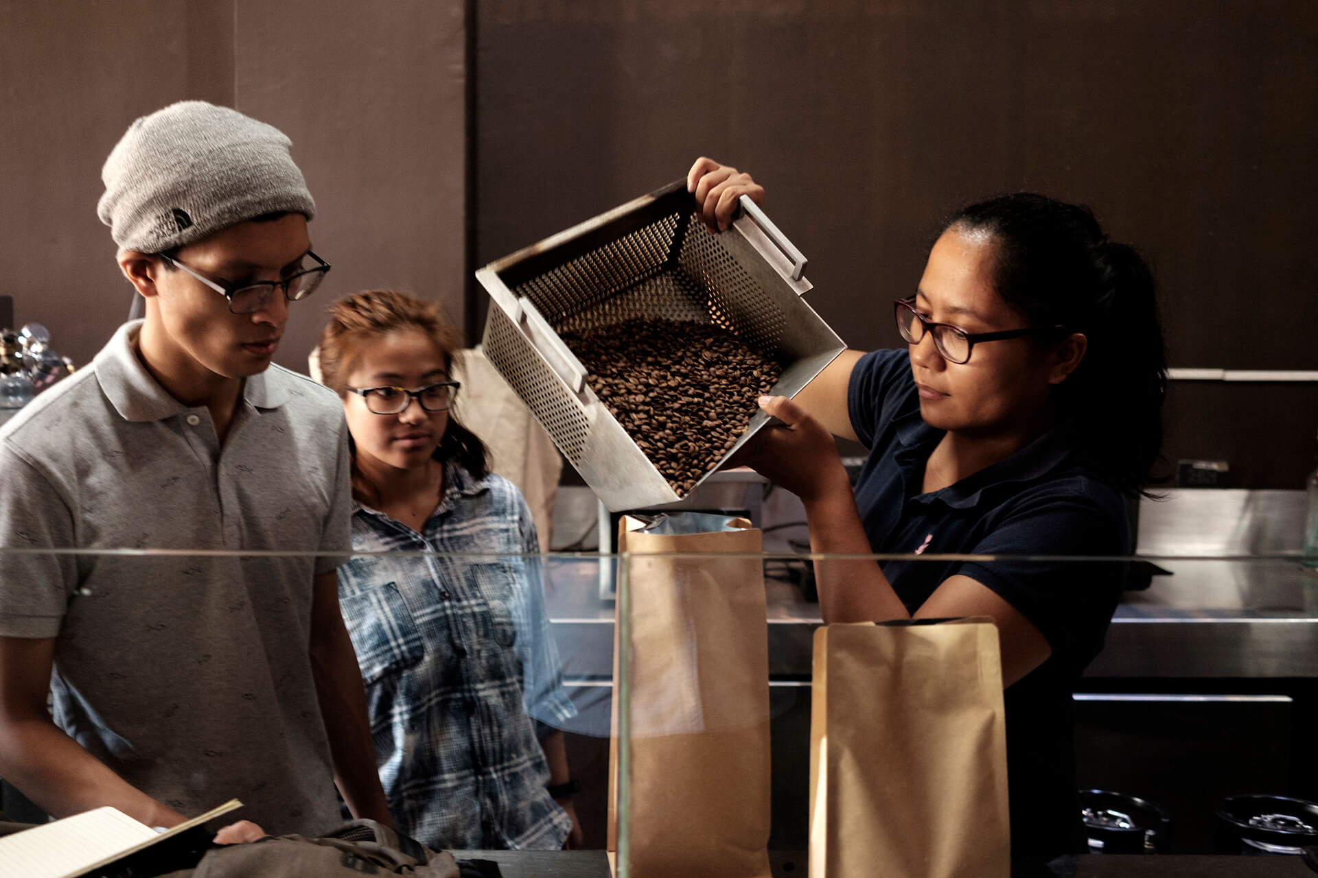Tere Domine roasts beans at EDSA Beverage Design Group in Quezon City.
