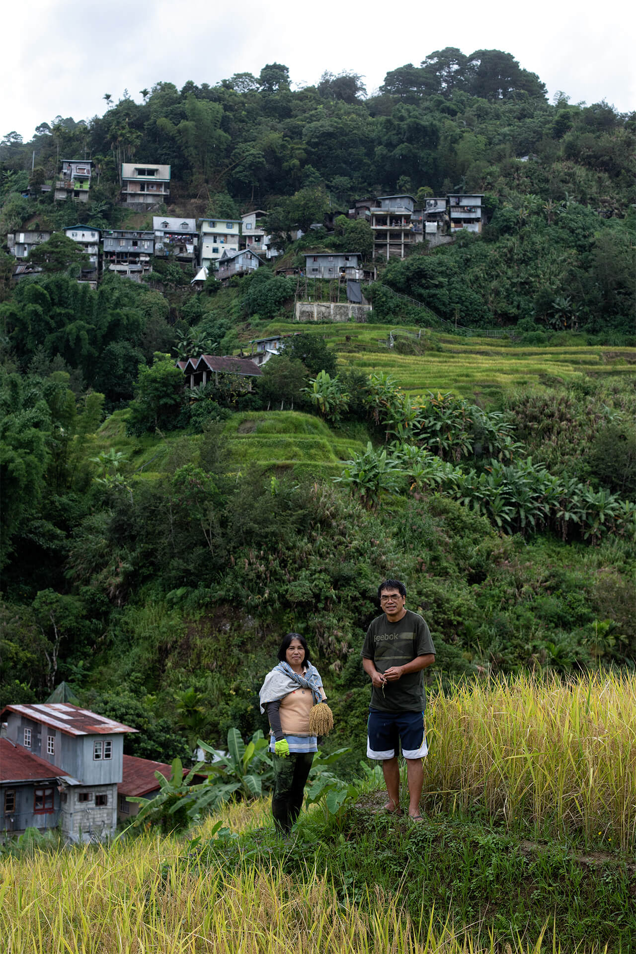 Heirloom rice farmers against the backdrop of the rice terraces and the surrounding community.