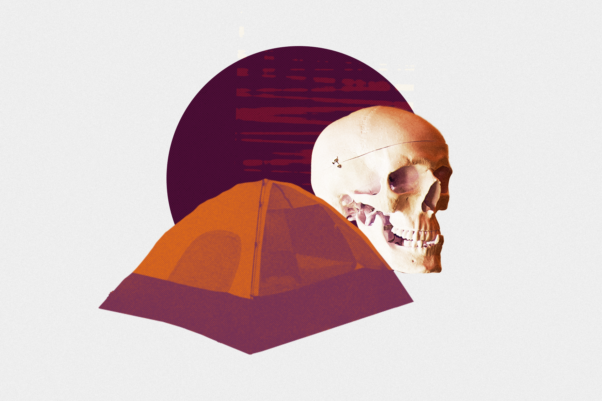 Collage of a tent and skull, illustration by Regine Salumbre