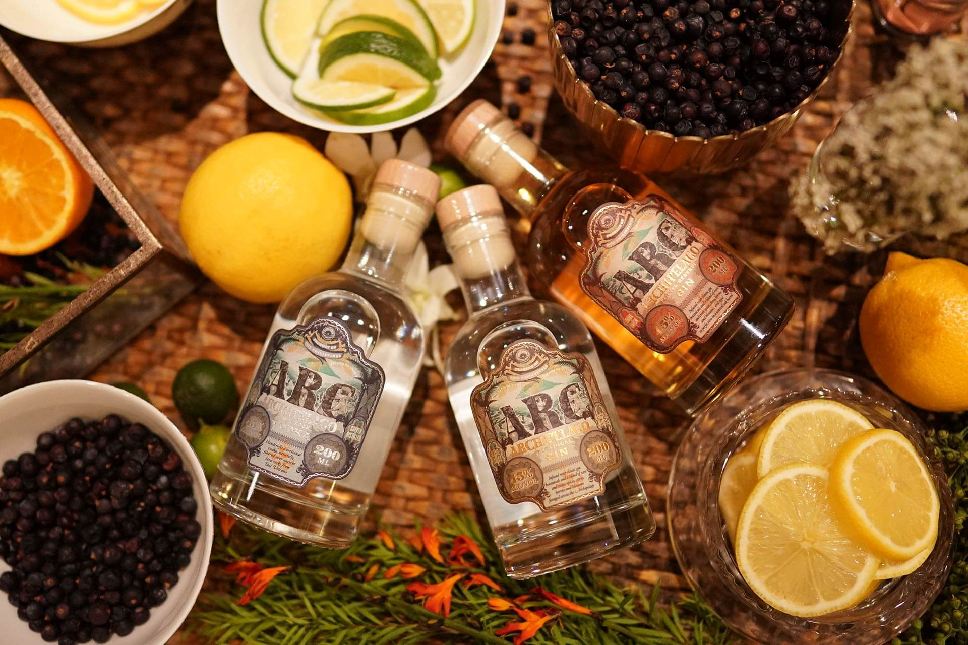 ARC Artisanal Craft spirits made by Full Circle Craft Distillers: ARC Lava Rock Vodka, ARC Botanical Gin, and ARC Barrel Reserve Gin (all in 200mL bottles)