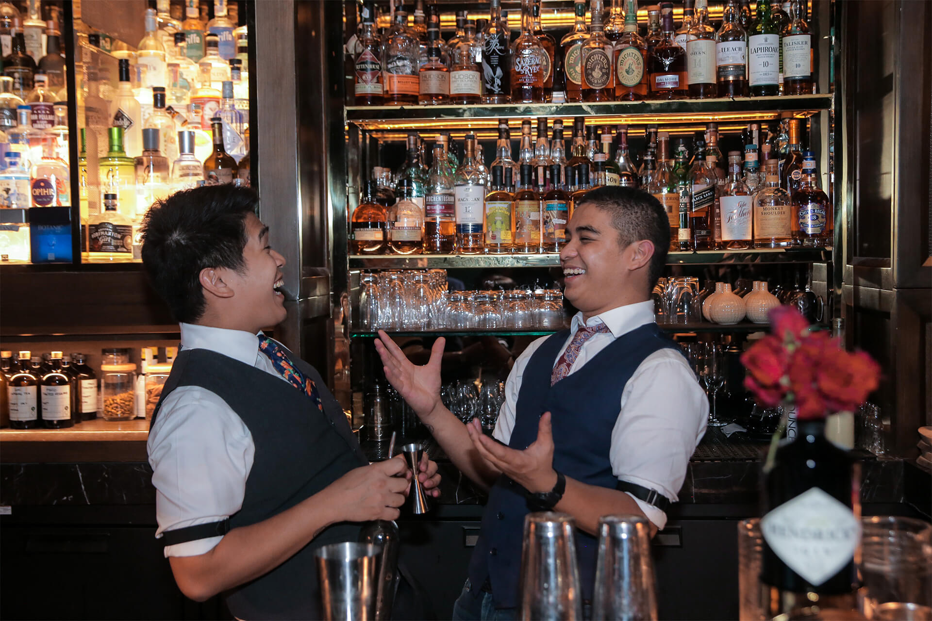 Bartenders and best friends Gab Carlos of Manhattan Singapore and Cedric Mendoza of Grain Bar Sydney at a guest shift at The Back Room BGC