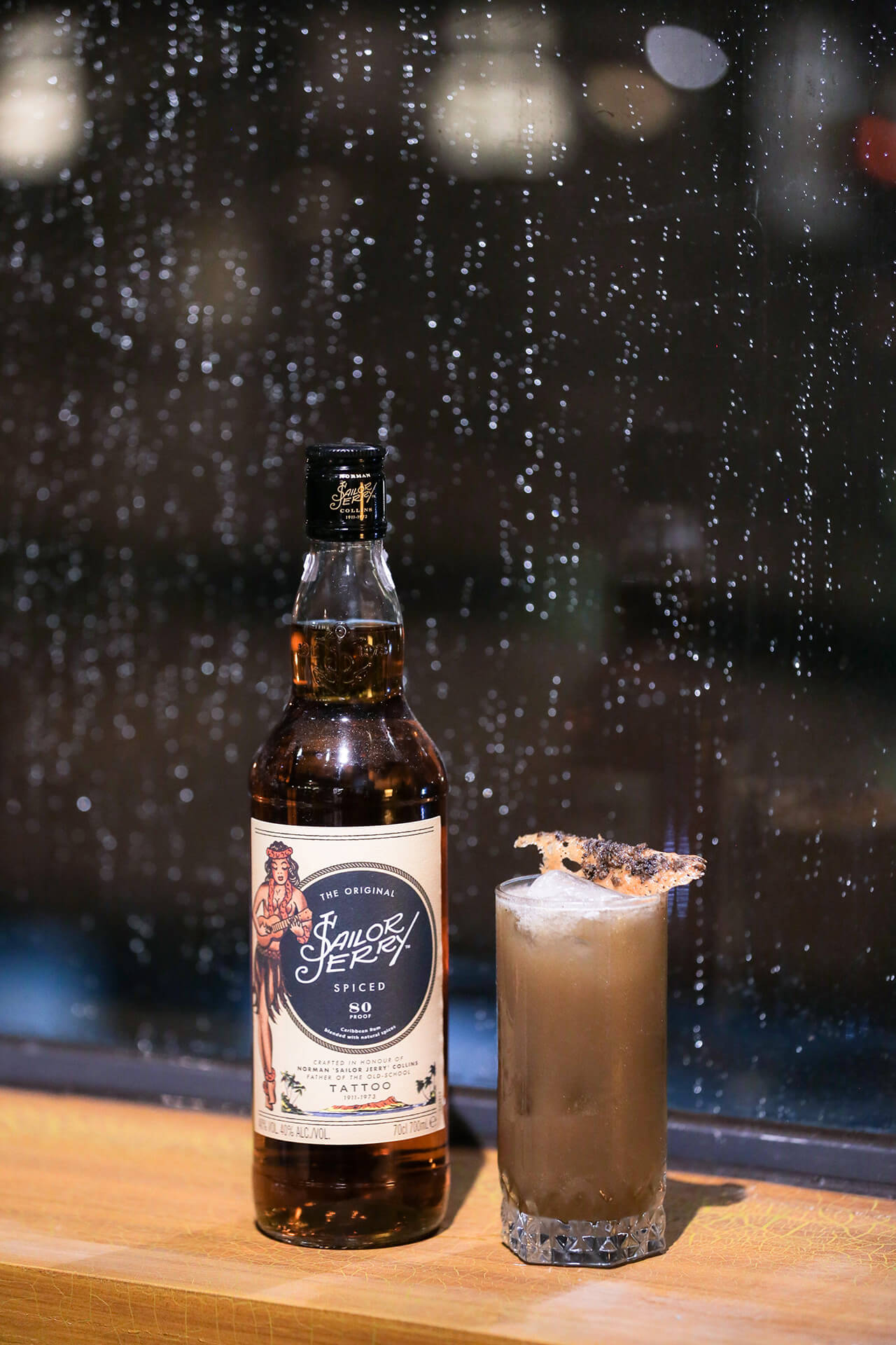 DARKER THAN STORMY cocktail by Edriane Lim, made with Sailor Jerry spiced Carribean rum