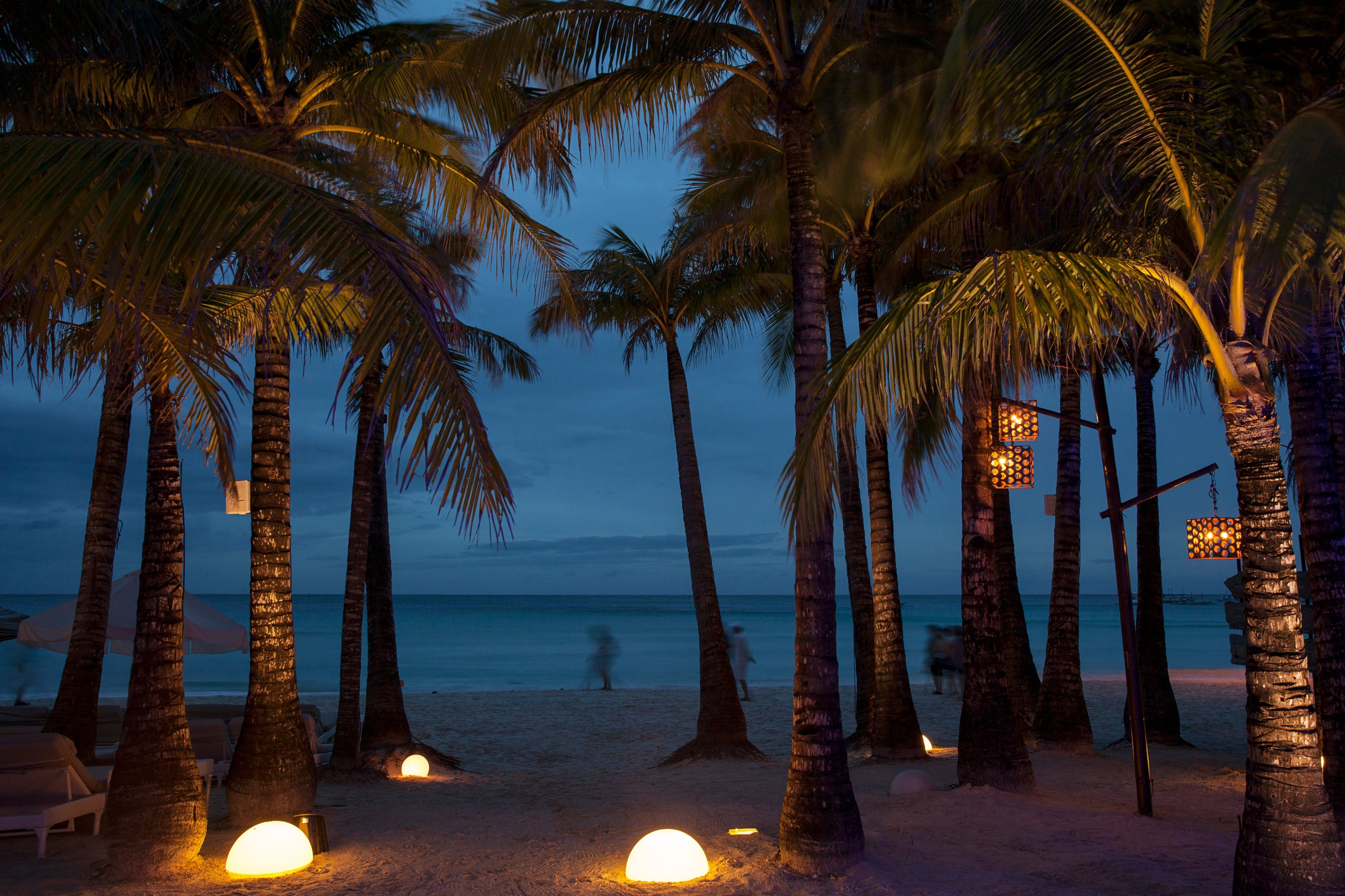 Landscape photo of the Boracay beachfront at night