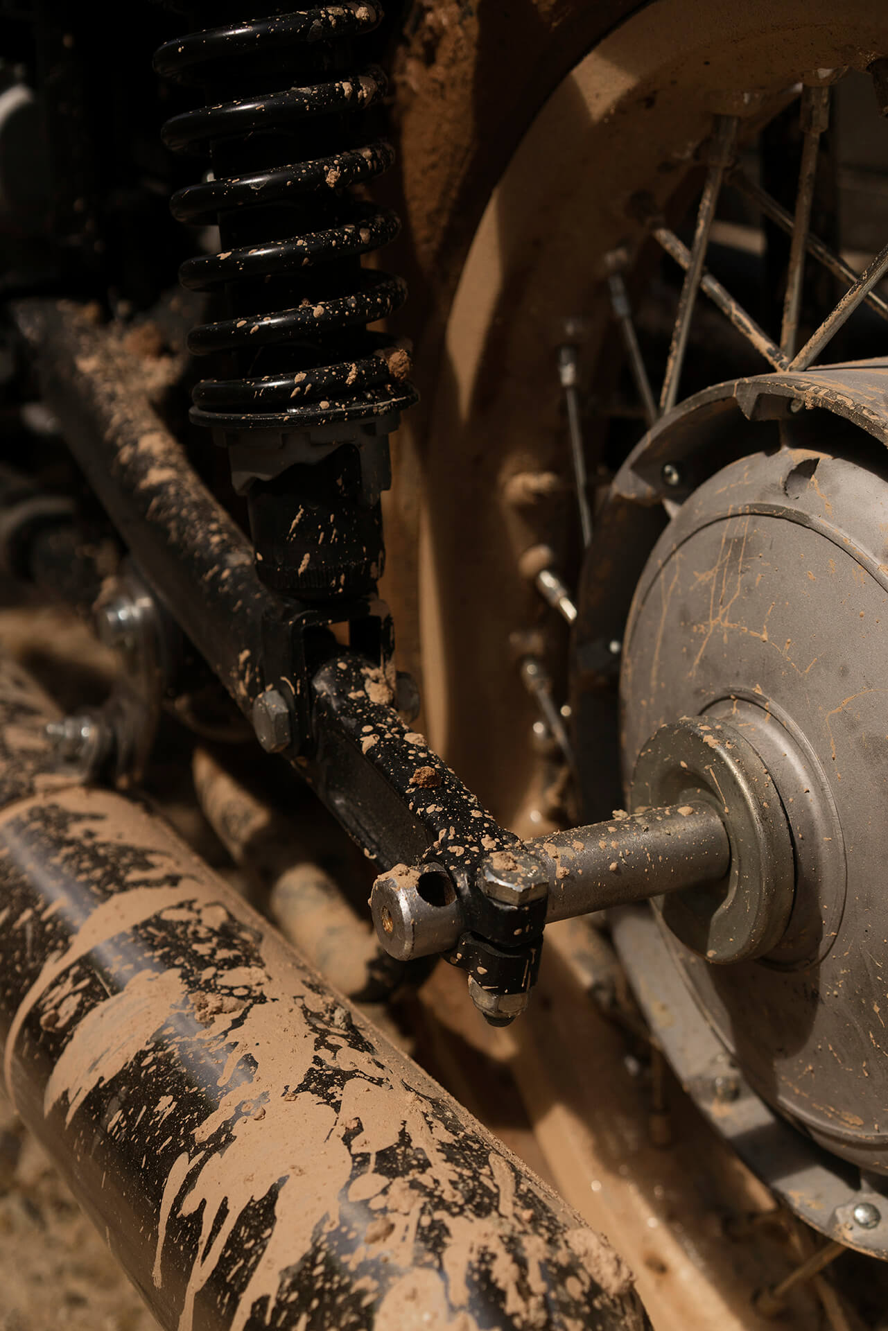 A muddied closeup of the Ural's parts.