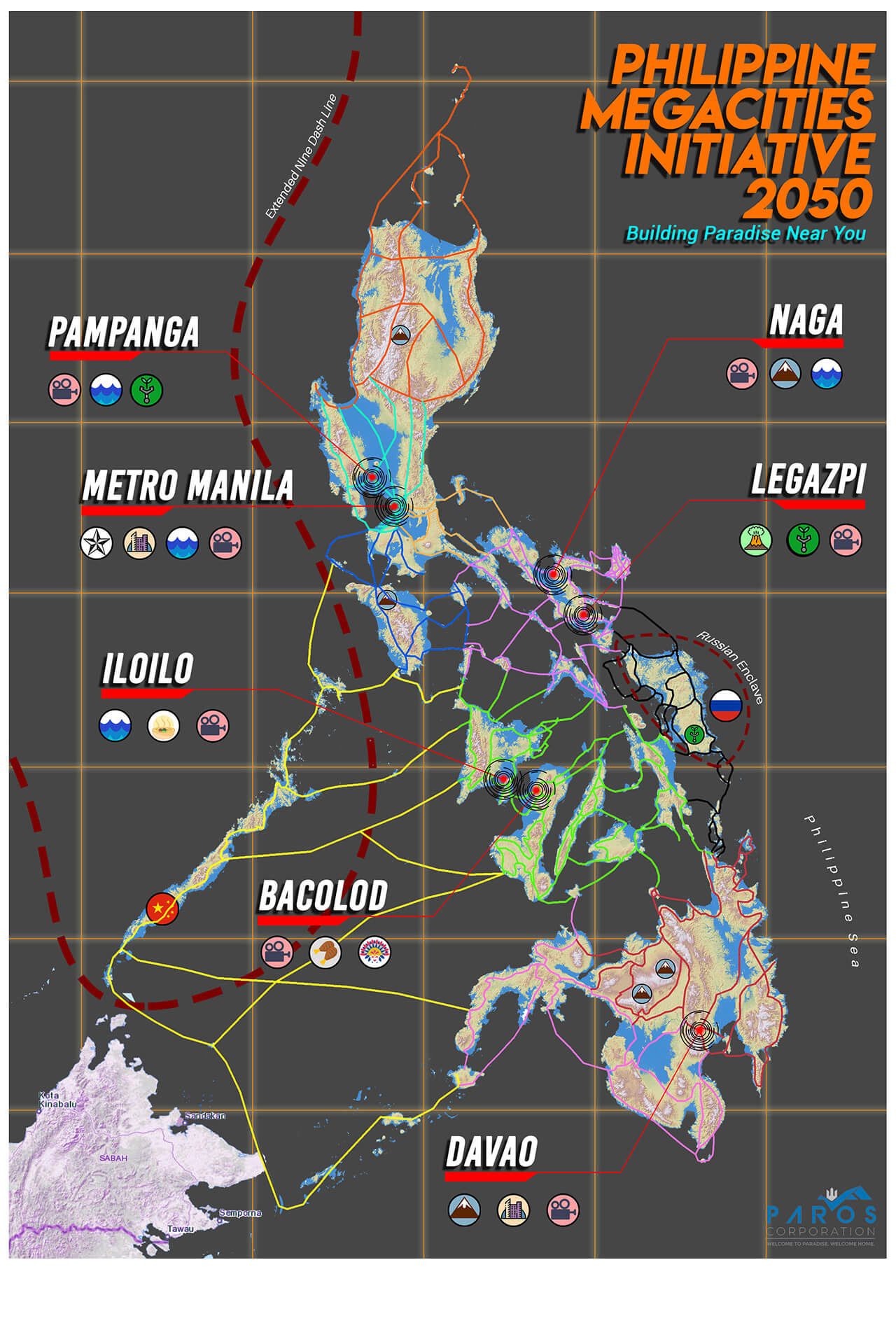 Canon map of the Philippine Megacities Initiative 2050, from the film ANI (2019).