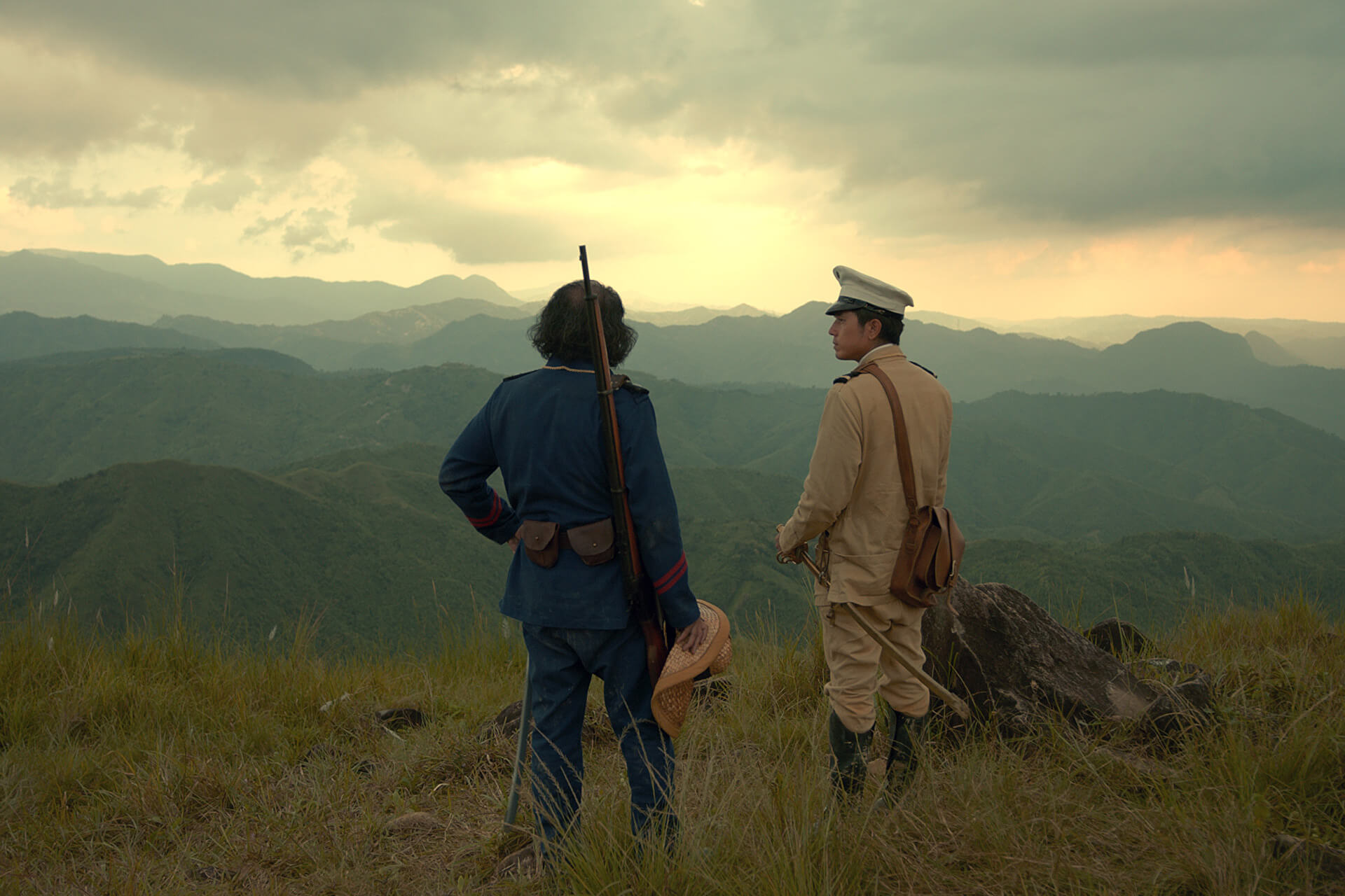 Goyo and his commander overlooking Mt. Balagbag in Rizal.