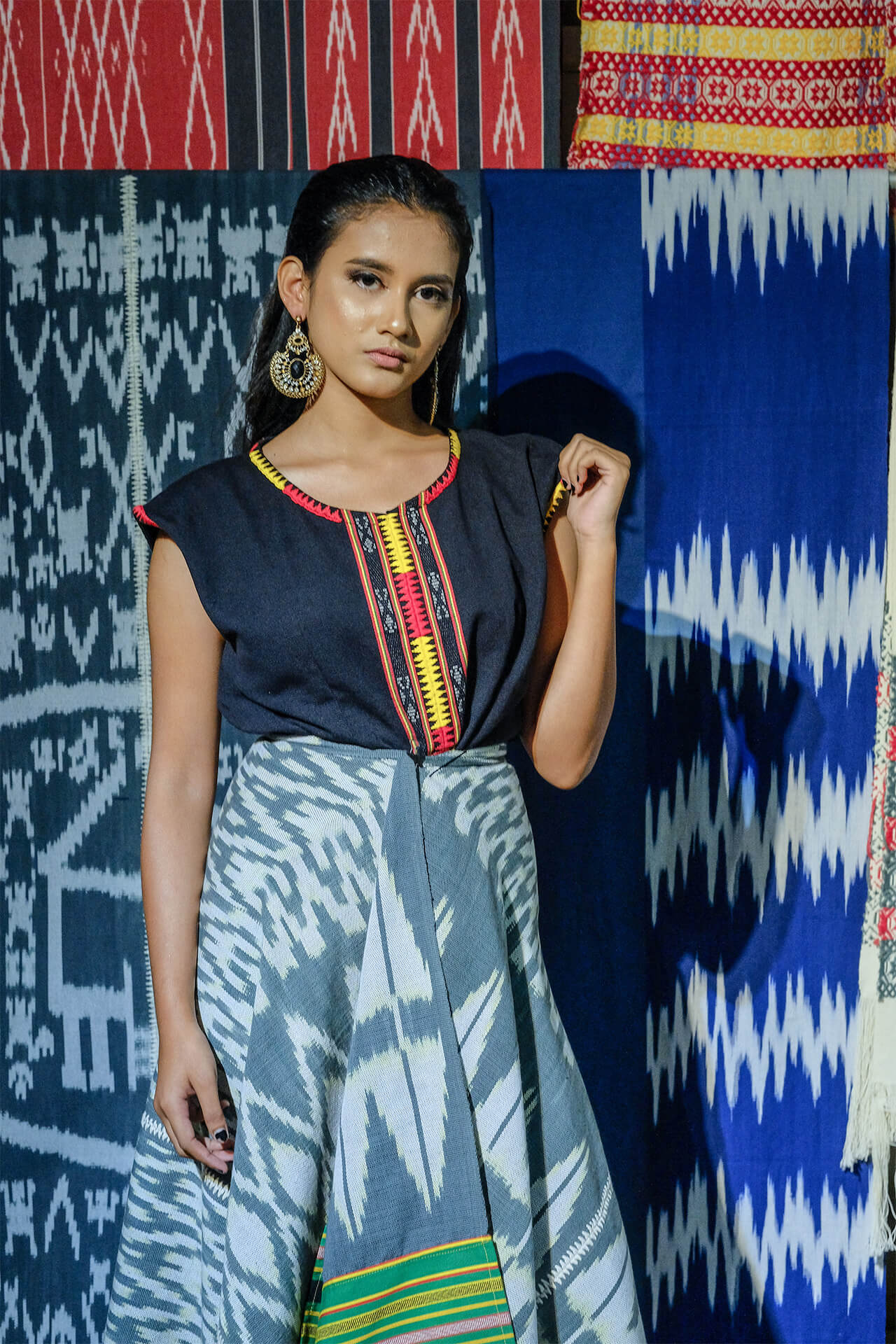 model wearing couture textile featuring iconic Ifugao patterns