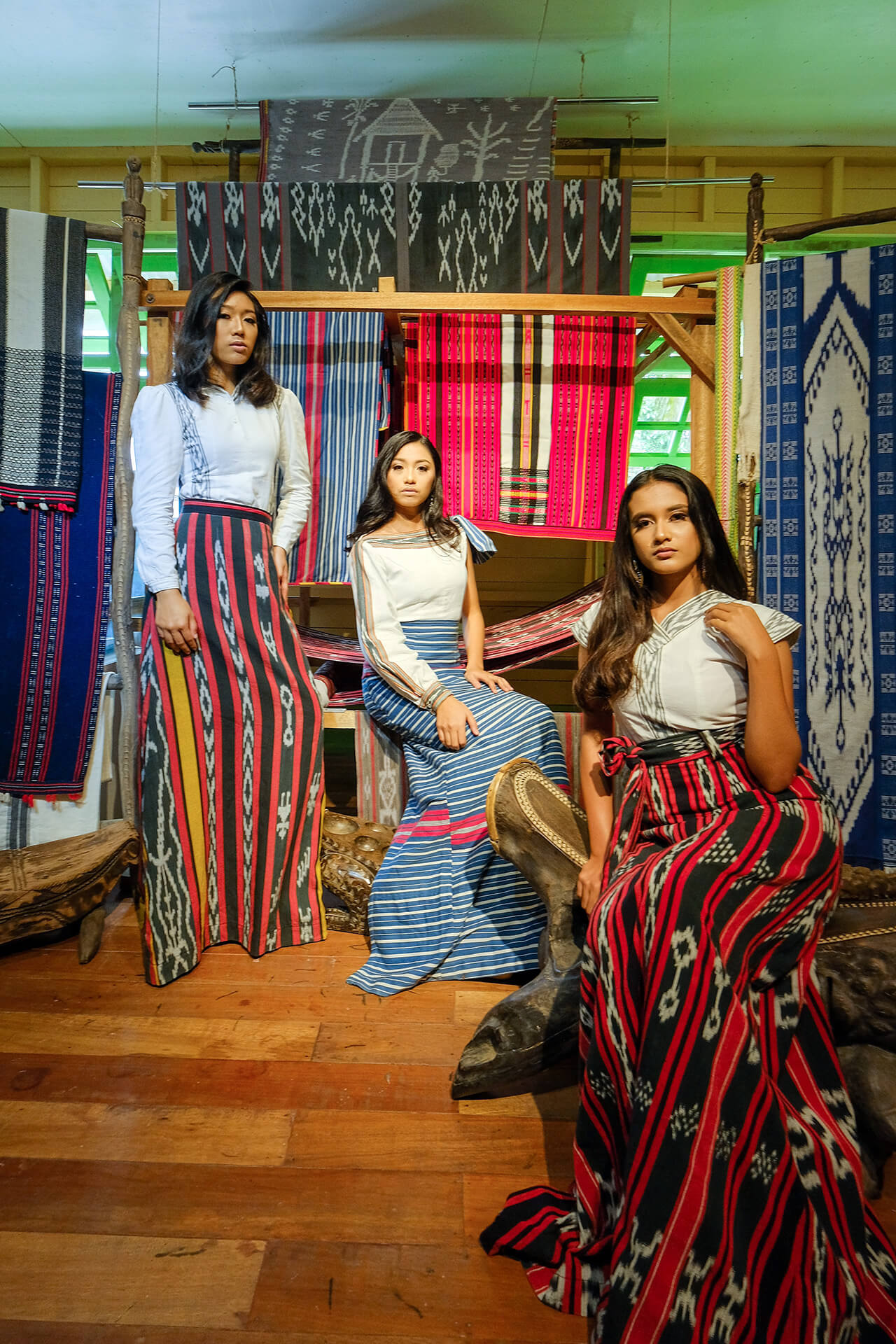 More models wearing couture textile featuring iconic Ifugao patterns